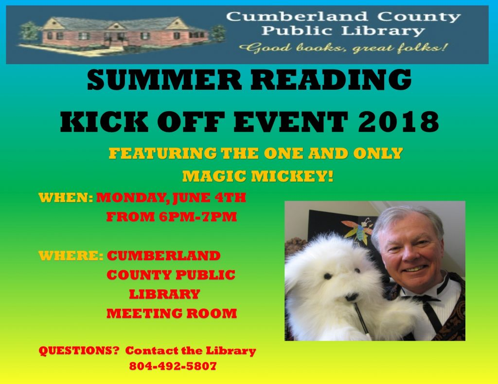 Summer Reading Kick Off! @ Cumberland County Public Library