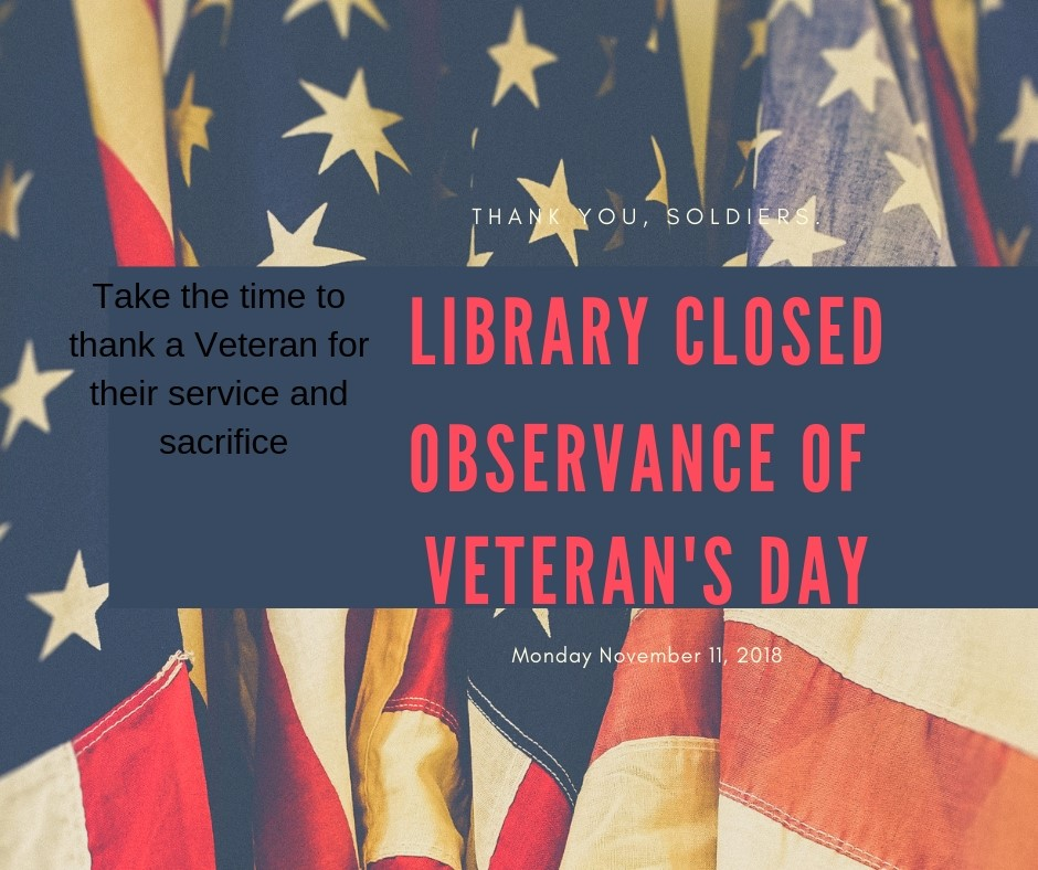 CLOSED in Observance of Veteran's Day @ Cumberland County Public Library