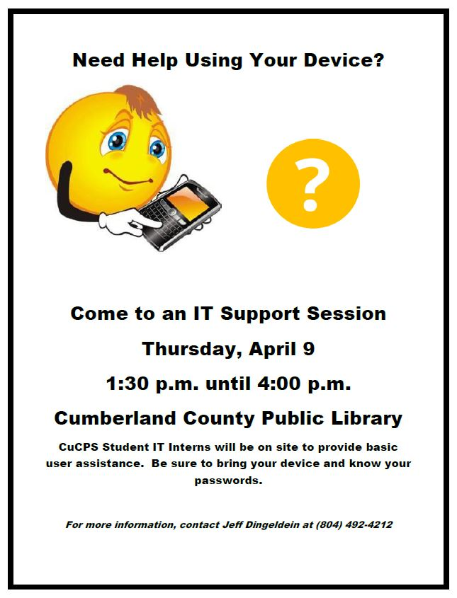 Cumberland County Public Schools' IT Support Session @ Cumberland County Public Library
