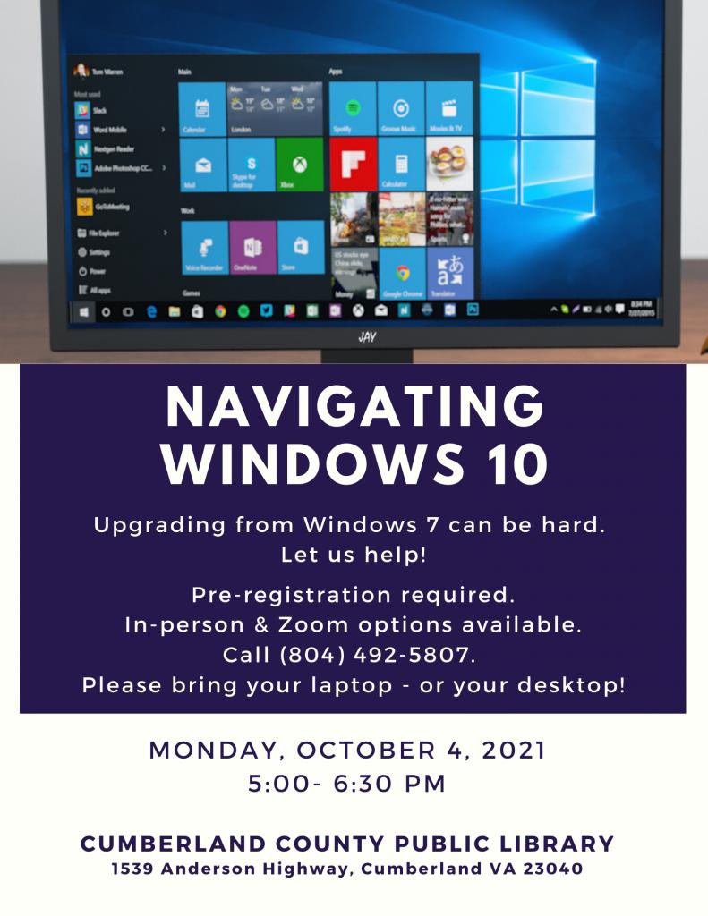 Windows 10 Class @ Cumberland Co. Public Library