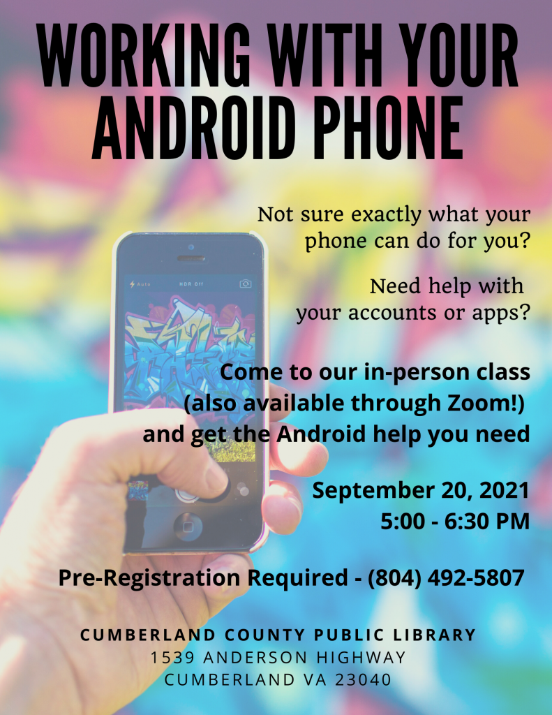 Android Phone Class @ Cumberland Co. Public Library